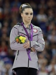 Olympic gymnast who received 2nd. Notice her reaction.